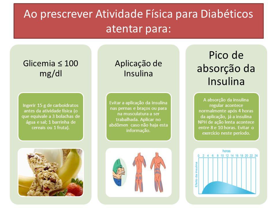 Ao prescrever Atividade Física para Diabéticos atentar para: Glicemia 100 mg/dl Ingerir 15 g de carboidratos antes da atividade física (o que equivale