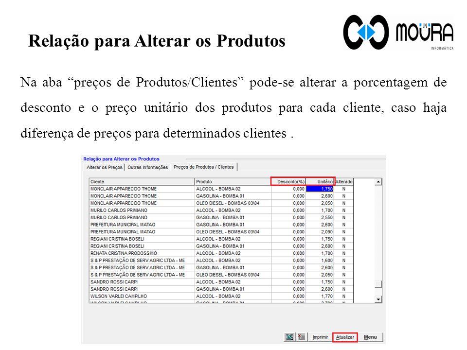 Relação para Alterar os Produtos Na aba preços de Produtos/Clientes pode-se alterar a porcentagem de desconto e o preço unitário dos produtos para cad