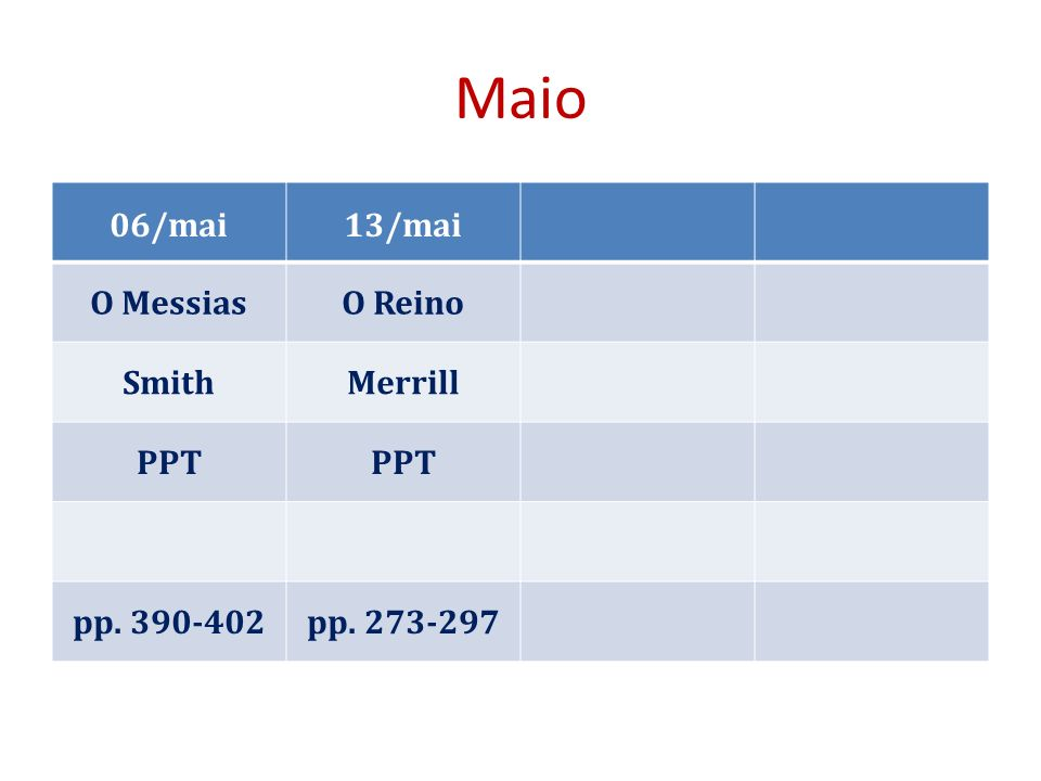 Maio 06/mai13/mai O MessiasO Reino SmithMerrill PPT pp. 390-402pp. 273-297