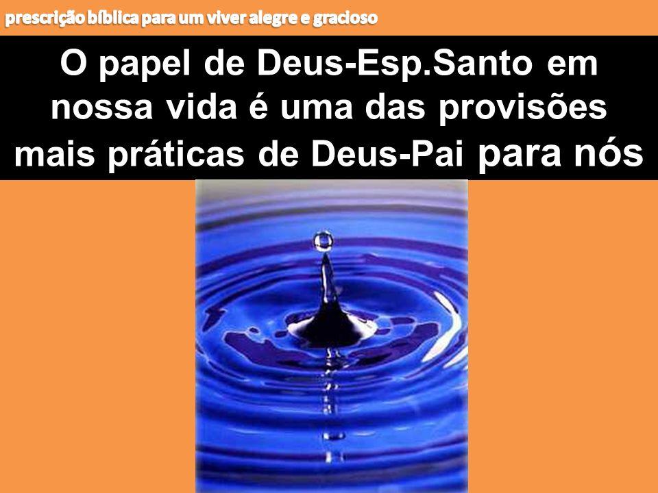 O papel de Deus-Esp.Santo em nossa vida é uma das provisões mais práticas de Deus-Pai para nós