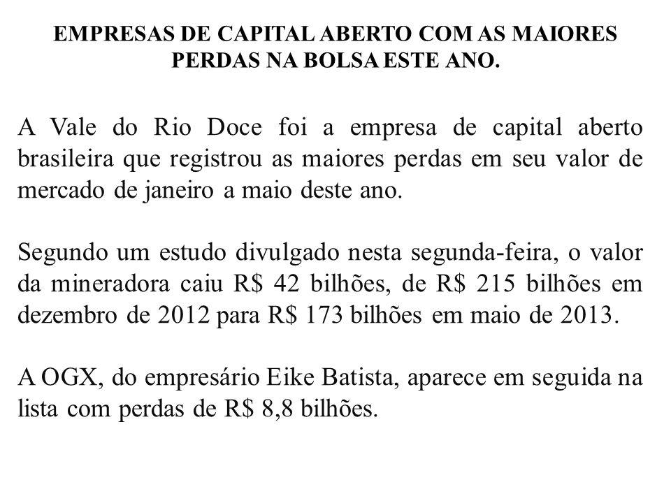 EMPRESAS DE CAPITAL ABERTO COM AS MAIORES PERDAS NA BOLSA ESTE ANO. A Vale do Rio Doce foi a empresa de capital aberto brasileira que registrou as mai