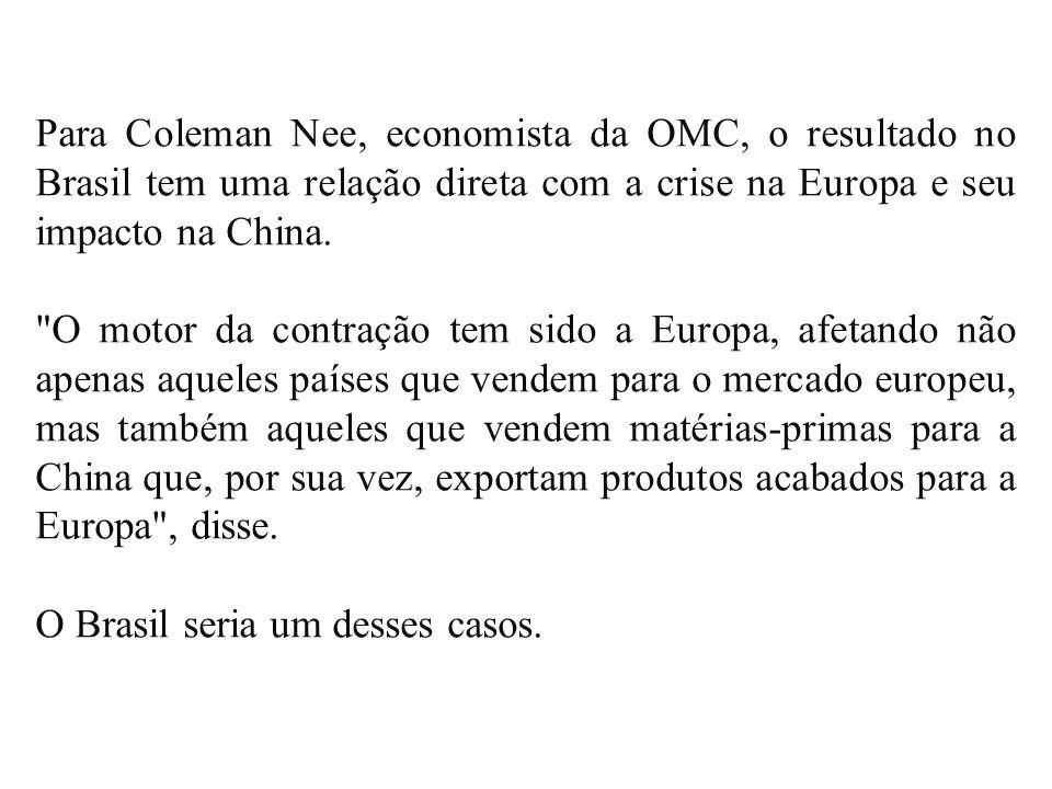 Para Coleman Nee, economista da OMC, o resultado no Brasil tem uma relação direta com a crise na Europa e seu impacto na China.