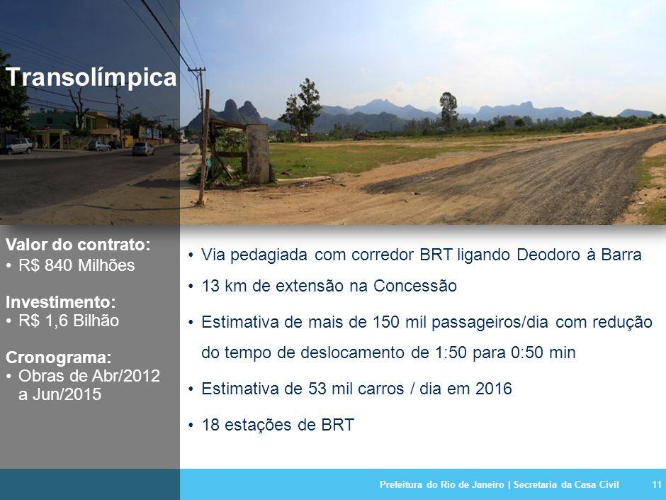 Prefeitura do Rio de Janeiro | Secretaria da Casa Civil11 Transolímpica Valor do contrato: R$ 840 Milhões Investimento: R$ 1,6 Bilhão Cronograma: Obras de Abr/2012 a Jun/2015 Via pedagiada com corredor BRT ligando Deodoro à Barra 13 km de extensão na Concessão Estimativa de mais de 150 mil passageiros/dia com redução do tempo de deslocamento de 1:50 para 0:50 min Estimativa de 53 mil carros / dia em 2016 18 estações de BRT