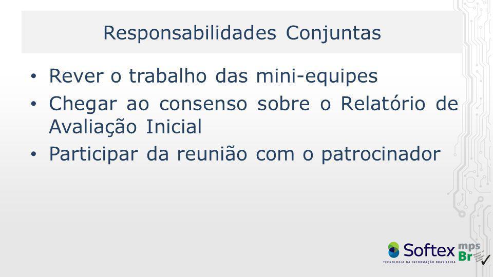 Responsabilidades Conjuntas Rever o trabalho das mini-equipes Chegar ao consenso sobre o Relatório de Avaliação Inicial Participar da reunião com o pa