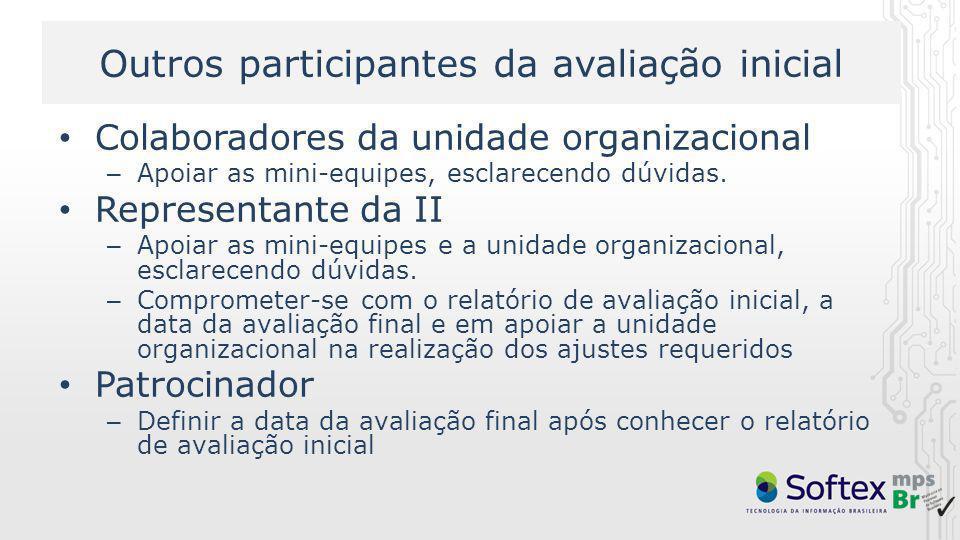 Outros participantes da avaliação inicial Colaboradores da unidade organizacional – Apoiar as mini-equipes, esclarecendo dúvidas. Representante da II