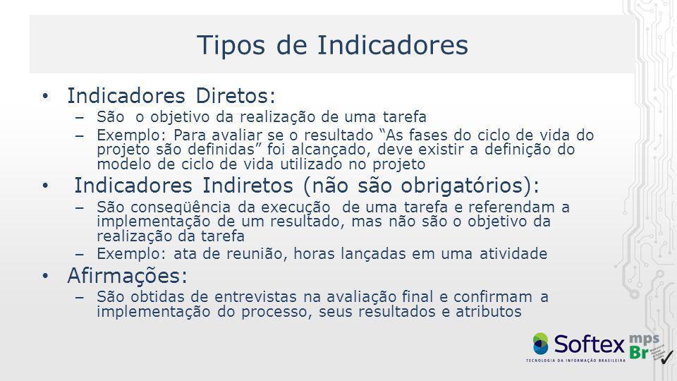 Tipos de Indicadores Indicadores Diretos: – São o objetivo da realização de uma tarefa – Exemplo: Para avaliar se o resultado As fases do ciclo de vid