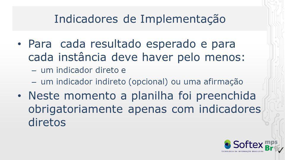 Indicadores de Implementação Para cada resultado esperado e para cada instância deve haver pelo menos: – um indicador direto e – um indicador indireto