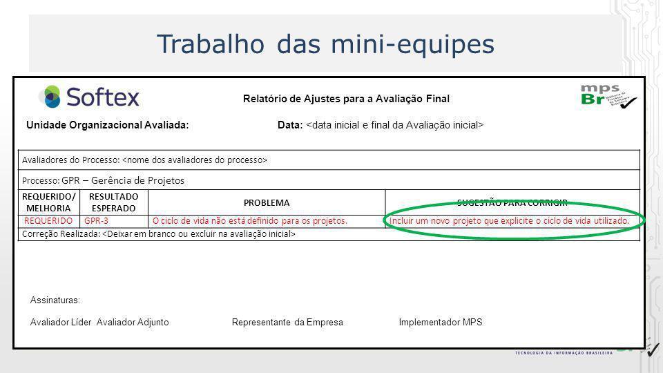 Trabalho das mini-equipes Relatório de Ajustes para a Avaliação Final Unidade Organizacional Avaliada: Data: Assinaturas: Avaliador LíderAvaliador Adj