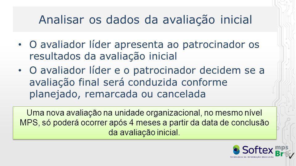 Analisar os dados da avaliação inicial O avaliador líder apresenta ao patrocinador os resultados da avaliação inicial O avaliador líder e o patrocinad