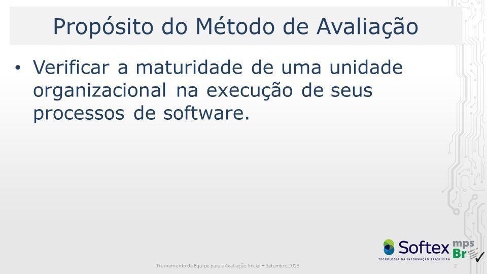 2 Propósito do Método de Avaliação Verificar a maturidade de uma unidade organizacional na execução de seus processos de software. Treinamento da Equi
