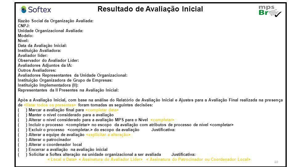 20 Resultado de Avaliação Inicial Razão Social da Organização Avaliada: CNPJ: Unidade Organizacional Avaliada: Modelo: Nível: Data da Avaliação Inicia