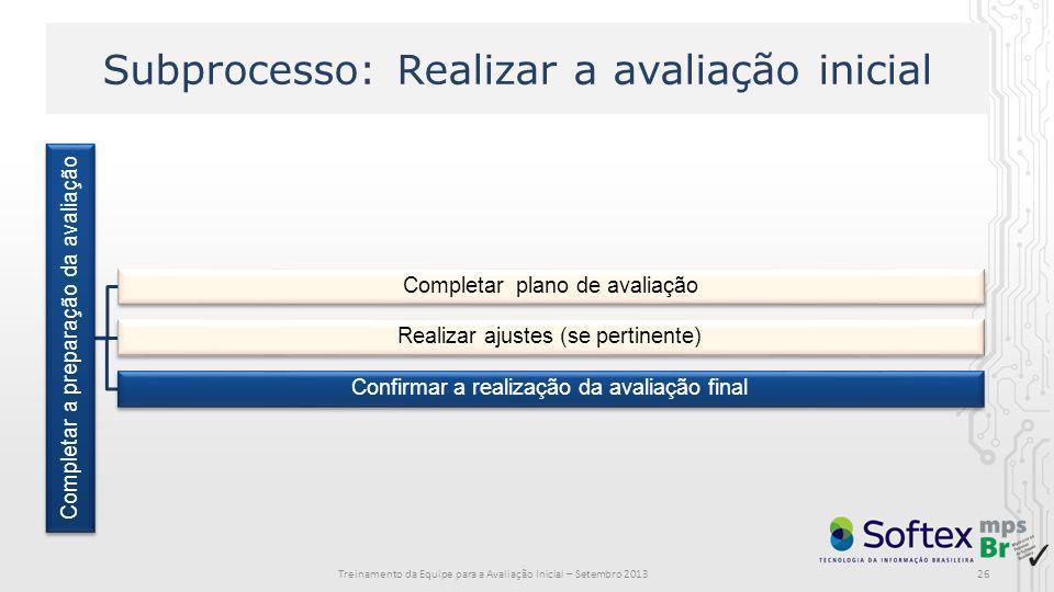 Subprocesso: Realizar a avaliação inicial Completar a preparação da avaliação Completar plano de avaliação Realizar ajustes (se pertinente) Confirmar