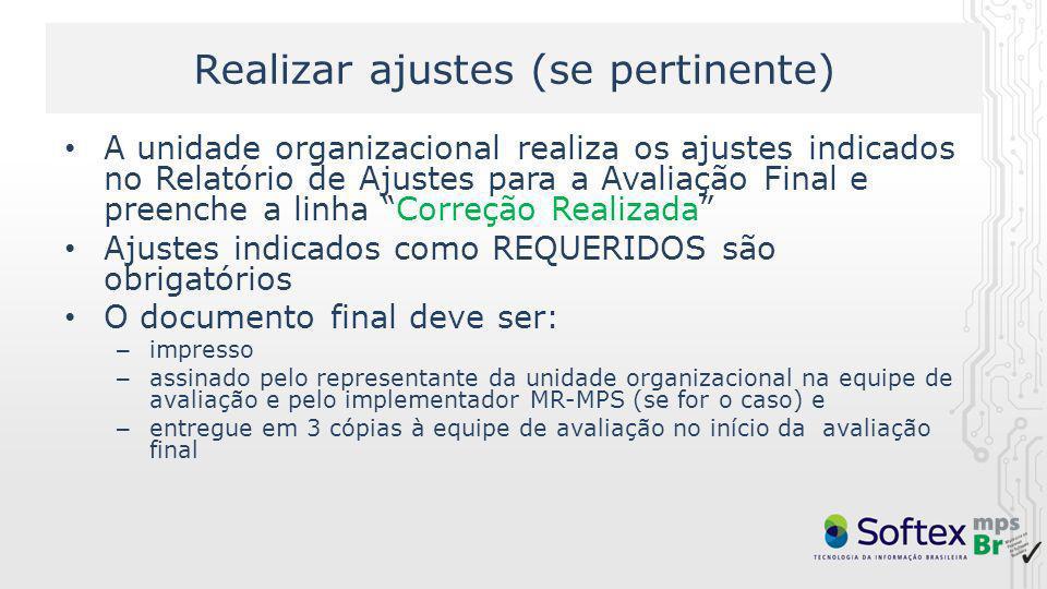 Realizar ajustes (se pertinente) A unidade organizacional realiza os ajustes indicados no Relatório de Ajustes para a Avaliação Final e preenche a lin