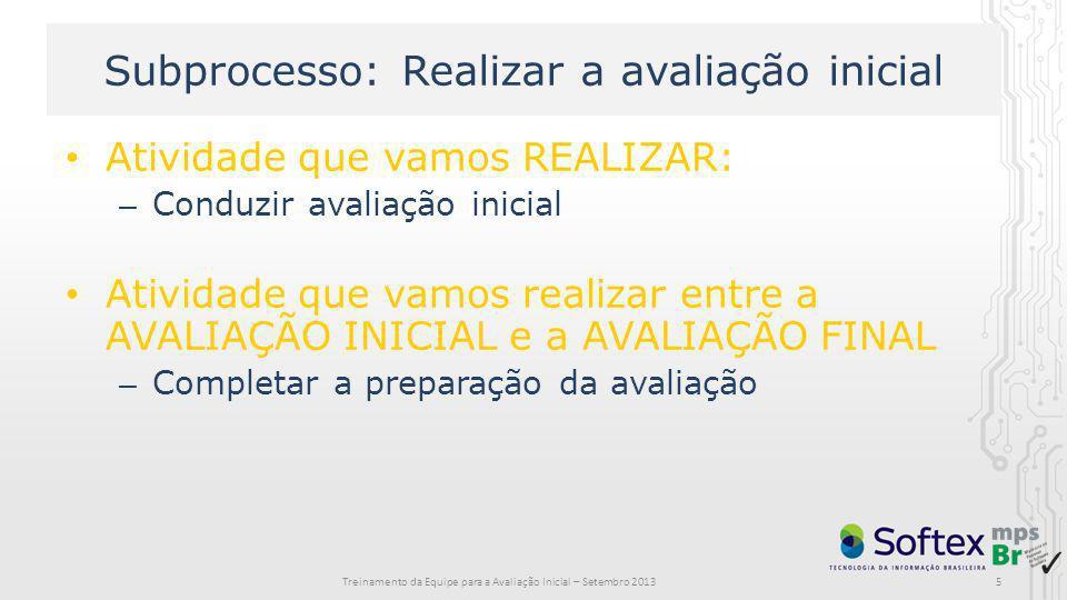 Subprocesso: Realizar a avaliação inicial Atividade que vamos REALIZAR: – Conduzir avaliação inicial Atividade que vamos realizar entre a AVALIAÇÃO IN