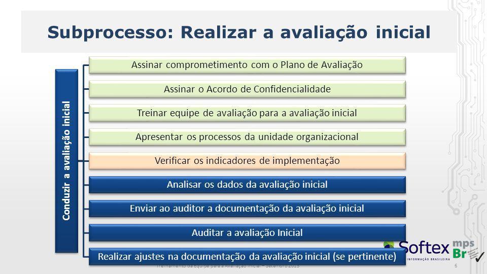 Subprocesso: Realizar a avaliação inicial Treinamento da Equipe para a Avaliação Inicial – Setembro 2013 Conduzir a avaliação inicial Assinar comprome