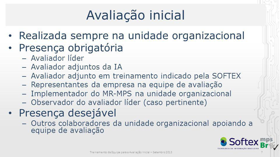 7 Avaliação inicial Realizada sempre na unidade organizacional Presença obrigatória – Avaliador líder – Avaliador adjuntos da IA – Avaliador adjunto e