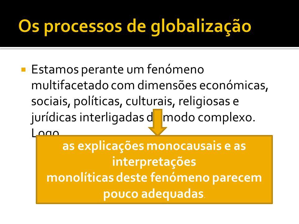 Estamos perante um fenómeno multifacetado com dimensões económicas, sociais, políticas, culturais, religiosas e jurídicas interligadas de modo complexo.