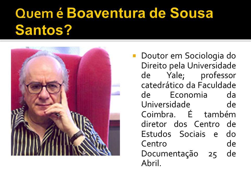 Doutor em Sociologia do Direito pela Universidade de Yale; professor catedrático da Faculdade de Economia da Universidade de Coimbra.