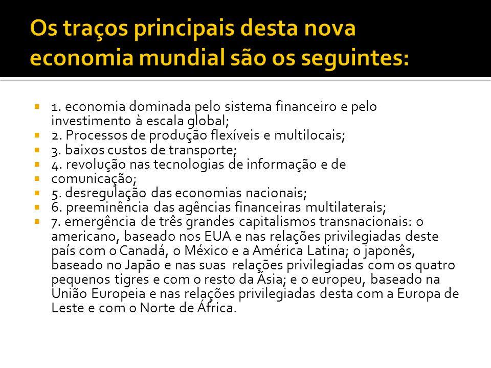 1. economia dominada pelo sistema financeiro e pelo investimento à escala global; 2. Processos de produção flexíveis e multilocais; 3. baixos custos d