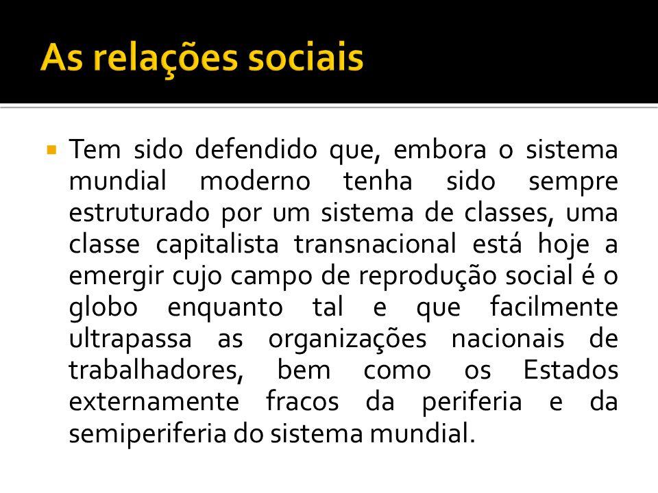 Tem sido defendido que, embora o sistema mundial moderno tenha sido sempre estruturado por um sistema de classes, uma classe capitalista transnacional
