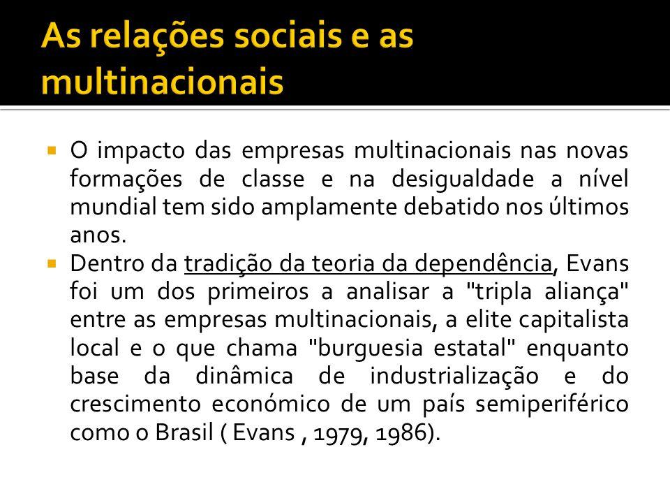 O impacto das empresas multinacionais nas novas formações de classe e na desigualdade a nível mundial tem sido amplamente debatido nos últimos anos. D