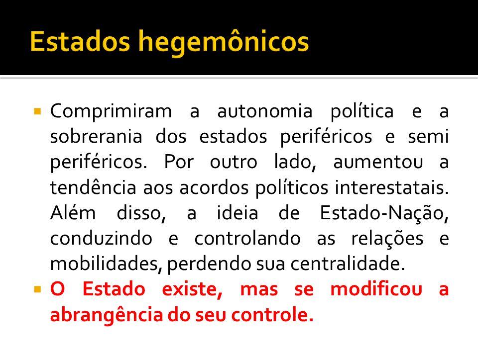 Comprimiram a autonomia política e a sobrerania dos estados periféricos e semi periféricos. Por outro lado, aumentou a tendência aos acordos políticos