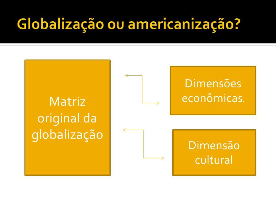 Matriz original da globalização Dimensões econômicas. Dimensão cultural