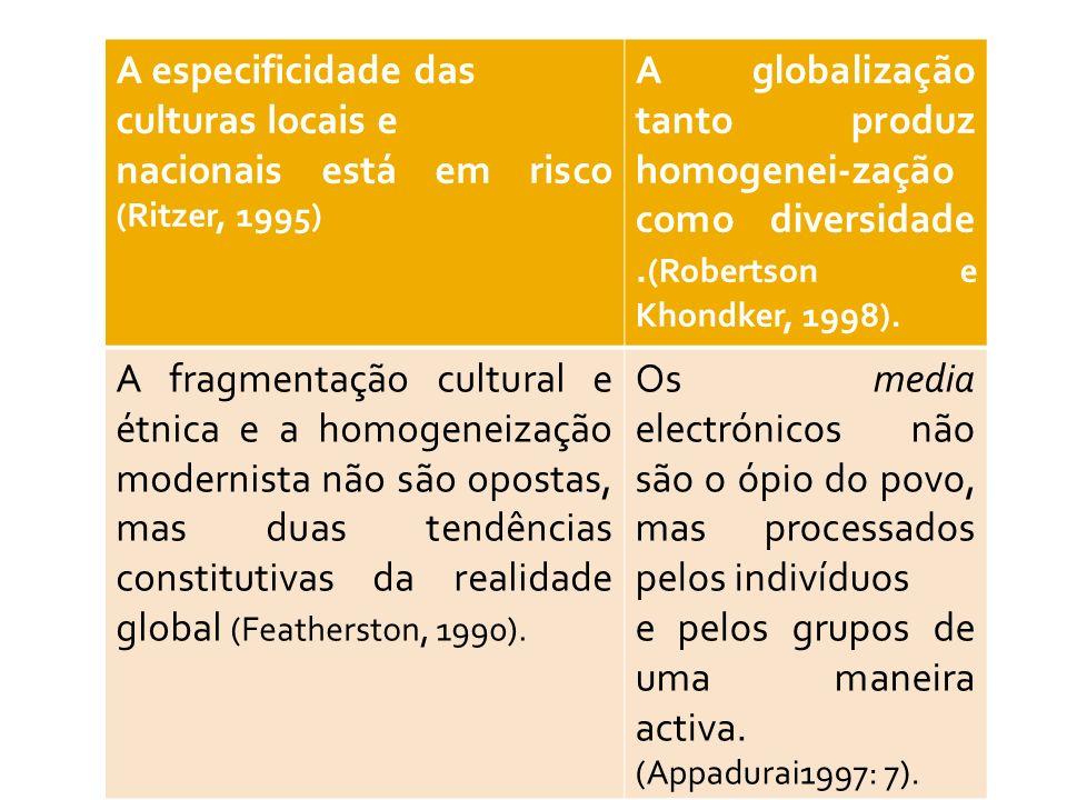 A especificidade das culturas locais e nacionais está em risco (Ritzer, 1995) A globalização tanto produz homogenei-zação como diversidade. (Robertson