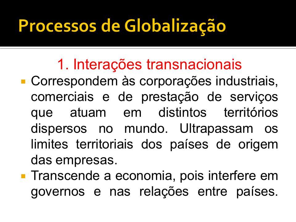 1. Interações transnacionais Correspondem às corporações industriais, comerciais e de prestação de serviços que atuam em distintos territórios dispers