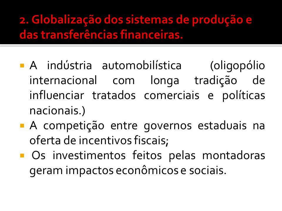 A indústria automobilística (oligopólio internacional com longa tradição de influenciar tratados comerciais e políticas nacionais.) A competição entre governos estaduais na oferta de incentivos fiscais; Os investimentos feitos pelas montadoras geram impactos econômicos e sociais.