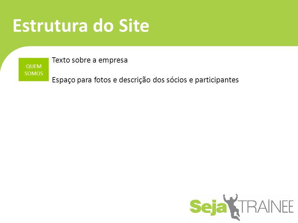 Estrutura do Site QUEM SOMOS Texto sobre a empresa Espaço para fotos e descrição dos sócios e participantes