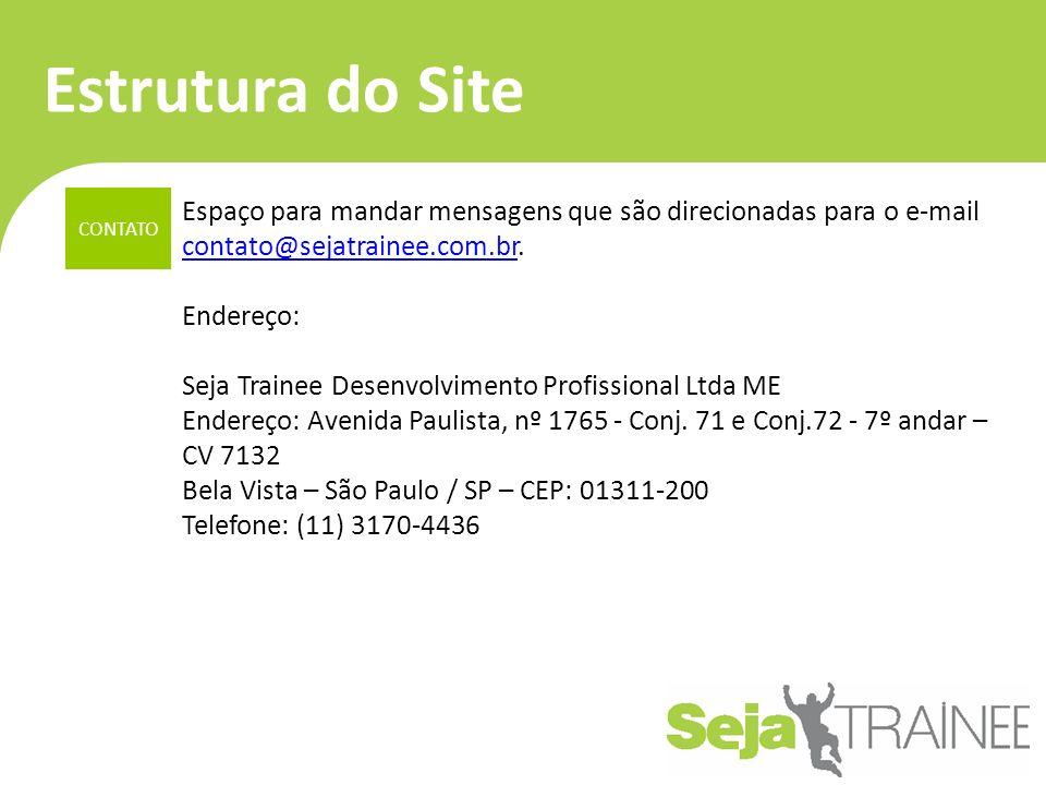 Estrutura do Site CONTATO Espaço para mandar mensagens que são direcionadas para o e-mail contato@sejatrainee.com.br.