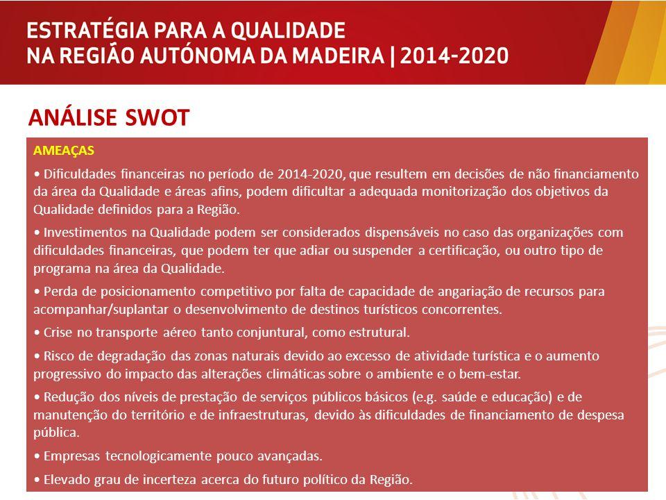 ANÁLISE SWOT AMEAÇAS Dificuldades financeiras no período de 2014-2020, que resultem em decisões de não financiamento da área da Qualidade e áreas afin