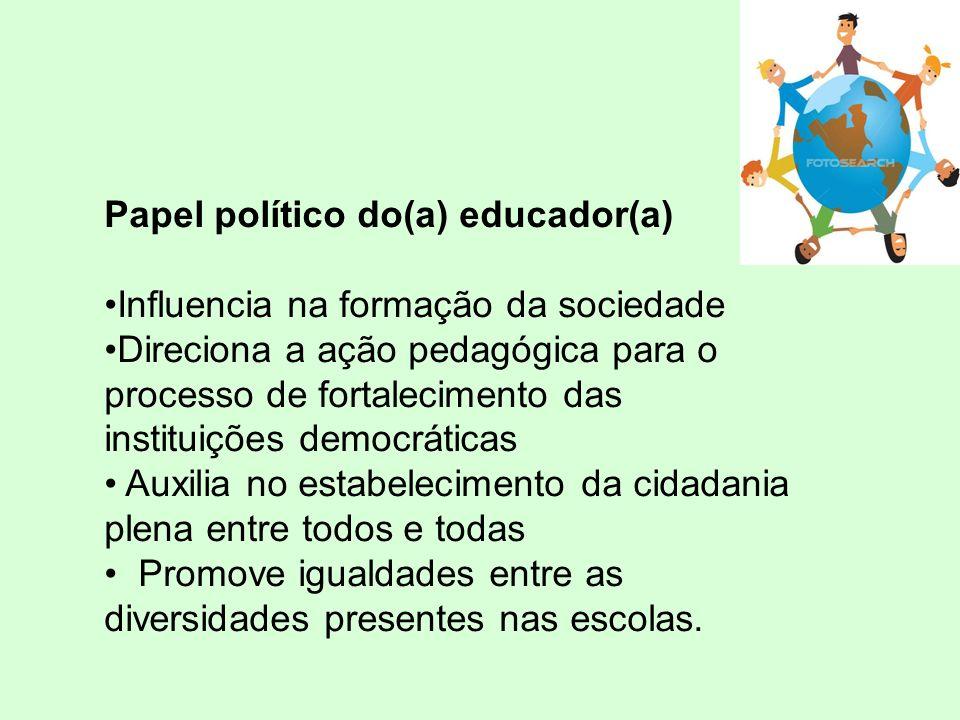 Papel político do(a) educador(a) Influencia na formação da sociedade Direciona a ação pedagógica para o processo de fortalecimento das instituições democráticas Auxilia no estabelecimento da cidadania plena entre todos e todas Promove igualdades entre as diversidades presentes nas escolas.