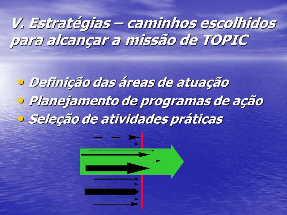 V. Estratégias – caminhos escolhidos para alcançar a missão de TOPIC Definição das áreas de atuação Definição das áreas de atuação Planejamento de pro