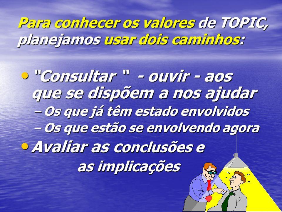 Para conhecer os valores de TOPIC, planejamos usar dois caminhos: Consultar - ouvir - aos que se dispõem a nos ajudar Consultar - ouvir - aos que se dispõem a nos ajudar –Os que já têm estado envolvidos –Os que estão se envolvendo agora Avaliar as c onclusões e Avaliar as c onclusões e as implicações
