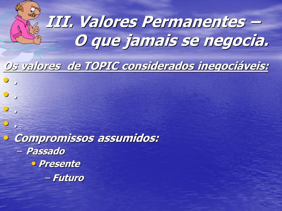III. Valores Permanentes – O que jamais se negocia.