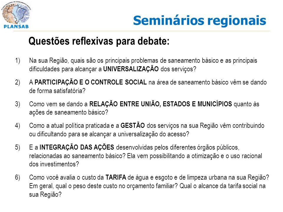 Seminários regionais 1)Na sua Região, quais são os principais problemas de saneamento básico e as principais dificuldades para alcançar a UNIVERSALIZAÇÃO dos serviços.