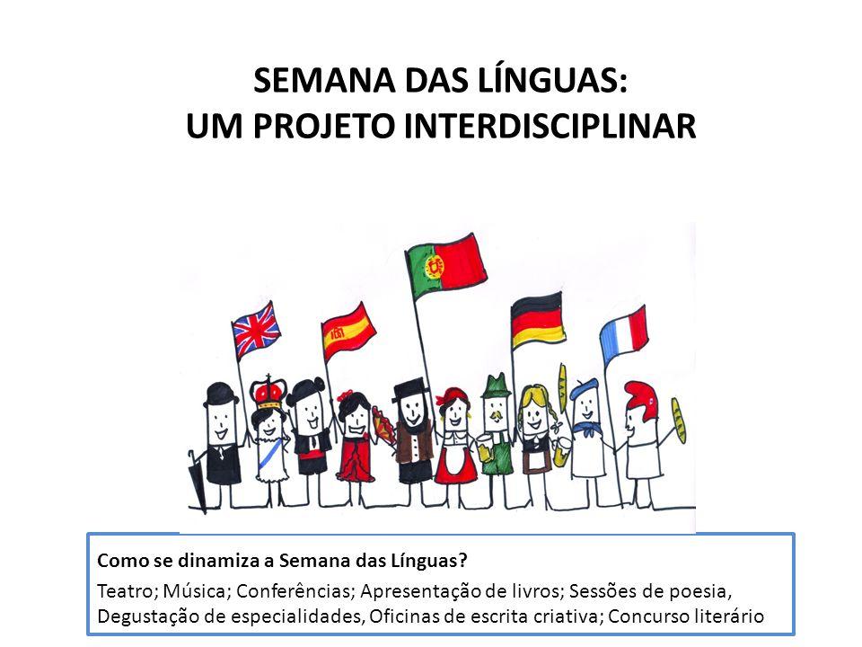 SEMANA DAS LÍNGUAS: UM PROJETO INTERDISCIPLINAR Como se dinamiza a Semana das Línguas? Teatro; Música; Conferências; Apresentação de livros; Sessões d