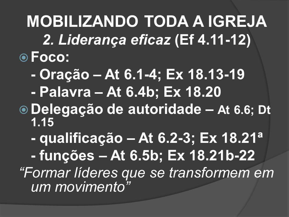 MOBILIZANDO TODA A IGREJA 2. Liderança eficaz (Ef 4.11-12) Foco: - Oração – At 6.1-4; Ex 18.13-19 - Palavra – At 6.4b; Ex 18.20 Delegação de autoridad