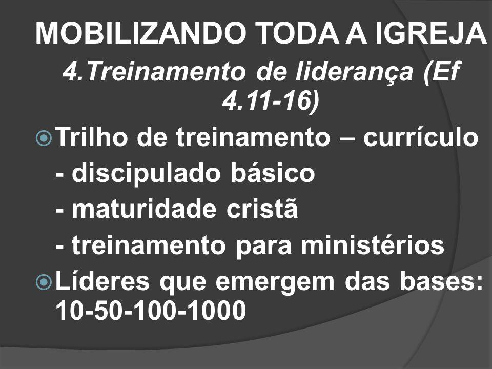 MOBILIZANDO TODA A IGREJA 4.Treinamento de liderança (Ef 4.11-16) Trilho de treinamento – currículo - discipulado básico - maturidade cristã - treinam