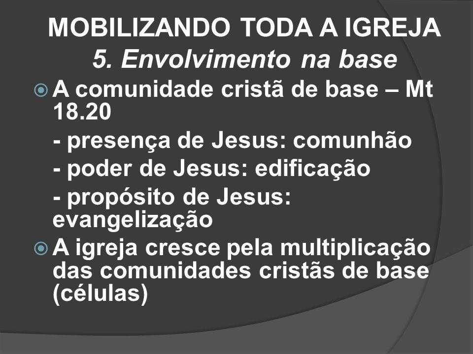 MOBILIZANDO TODA A IGREJA 5. Envolvimento na base A comunidade cristã de base – Mt 18.20 - presença de Jesus: comunhão - poder de Jesus: edificação -