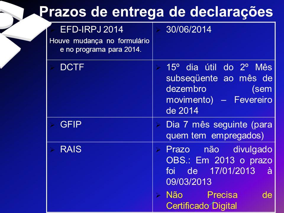 Prazos de entrega de declarações EFD-IRPJ 2014 Houve mudança no formulário e no programa para 2014. 30/06/2014 DCTF 15º dia útil do 2º Mês subseqüente