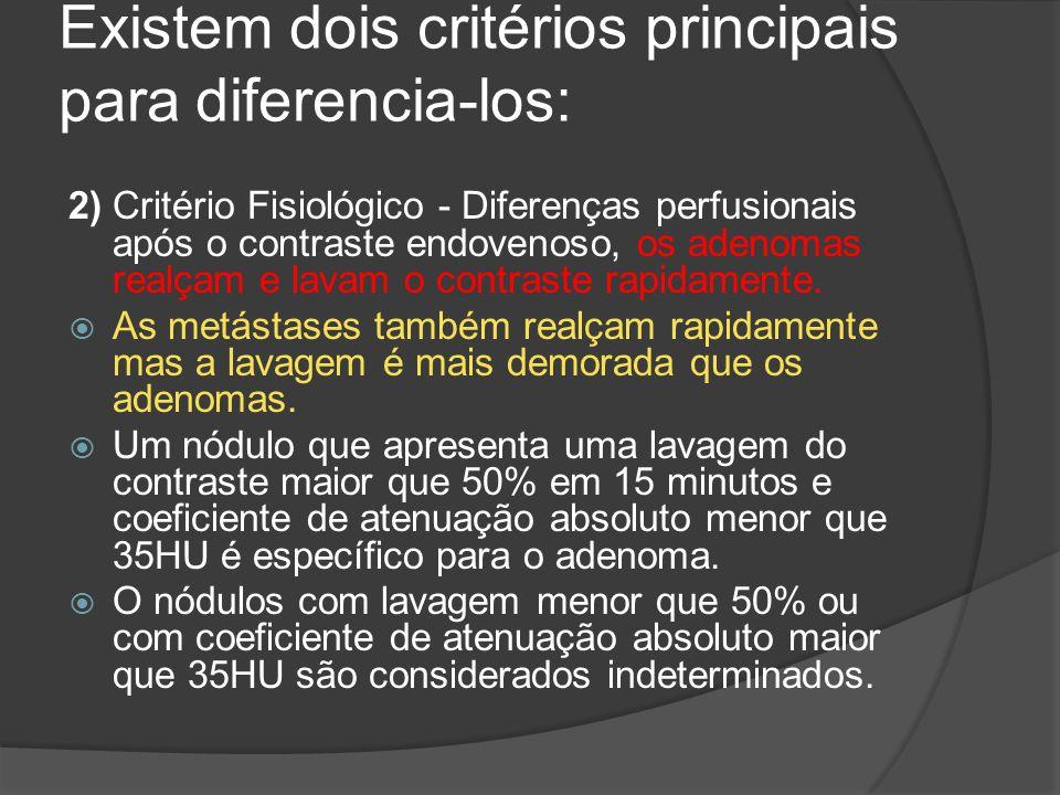 Existem dois critérios principais para diferencia-los: 2) Critério Fisiológico - Diferenças perfusionais após o contraste endovenoso, os adenomas realçam e lavam o contraste rapidamente.