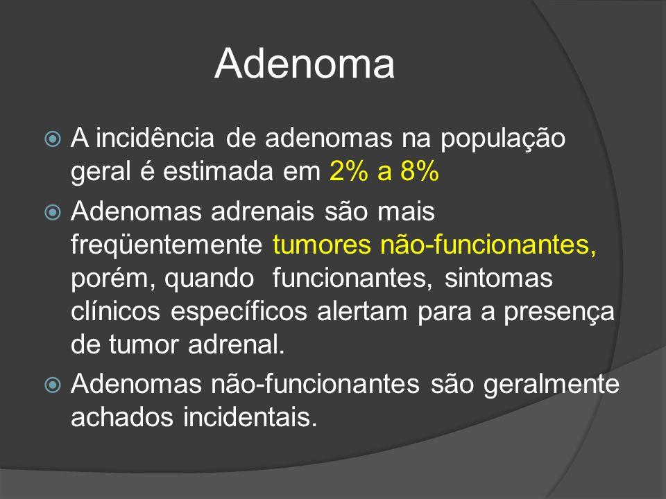 Adenoma A incidência de adenomas na população geral é estimada em 2% a 8% Adenomas adrenais são mais freqüentemente tumores não-funcionantes, porém, quando funcionantes, sintomas clínicos específicos alertam para a presença de tumor adrenal.