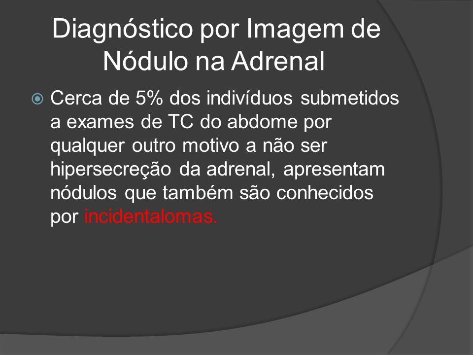 Diagnóstico por Imagem de Nódulo na Adrenal Cerca de 5% dos indivíduos submetidos a exames de TC do abdome por qualquer outro motivo a não ser hipersecreção da adrenal, apresentam nódulos que também são conhecidos por incidentalomas.