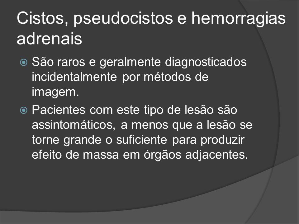 Cistos, pseudocistos e hemorragias adrenais São raros e geralmente diagnosticados incidentalmente por métodos de imagem.