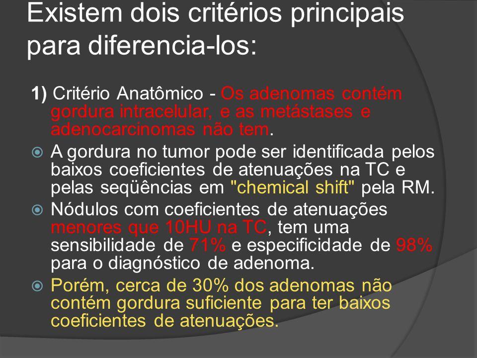 Existem dois critérios principais para diferencia-los: 1) Critério Anatômico - Os adenomas contém gordura intracelular, e as metástases e adenocarcinomas não tem.