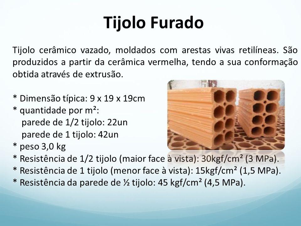 Tijolo Furado Tijolo cerâmico vazado, moldados com arestas vivas retilíneas. São produzidos a partir da cerâmica vermelha, tendo a sua conformação obt