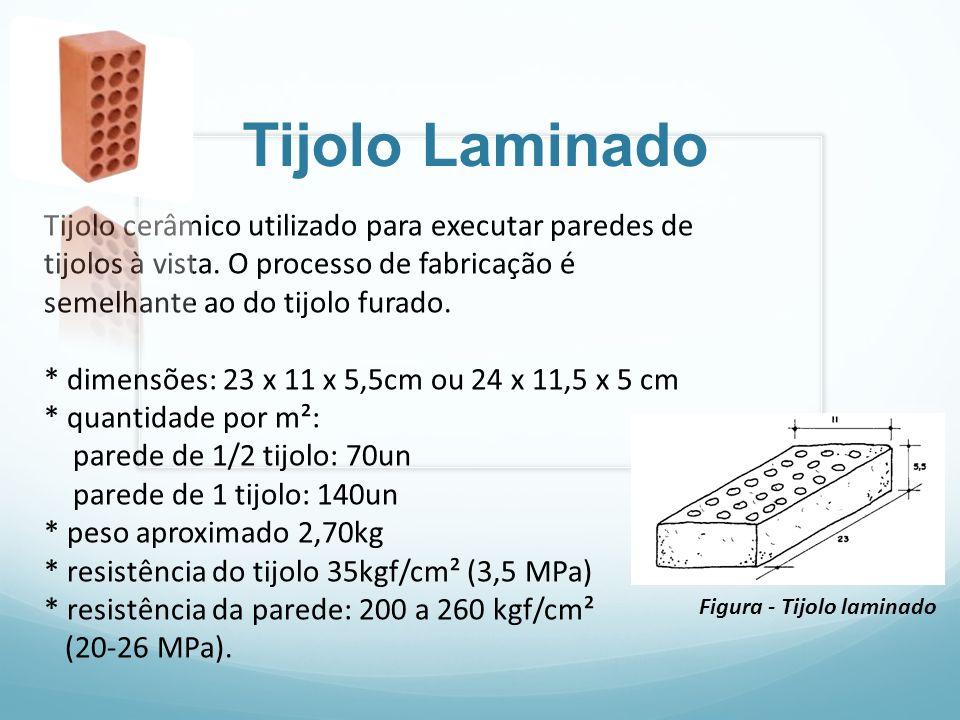 Tijolo Laminado Tijolo cerâmico utilizado para executar paredes de tijolos à vista. O processo de fabricação é semelhante ao do tijolo furado. * dimen